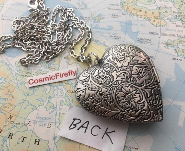 Steampunk Valentine's Heart Locket. back