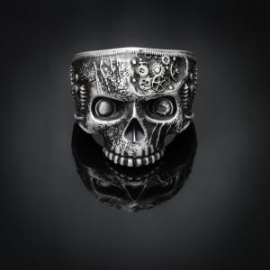Steampunk ring, steampunk jewelry, skull rings for men and women, half jaw skull ring, unique silver skull ring 1