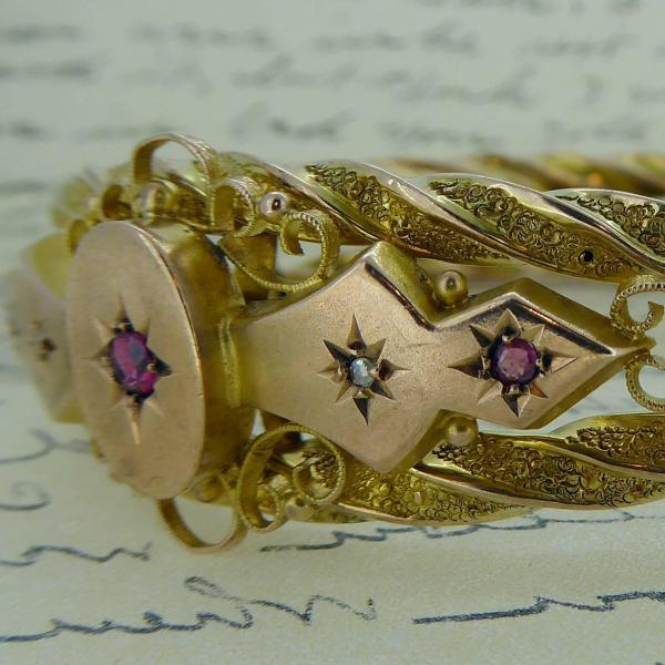 Victorian Ruby and Diamond Bangle in 9 Carat Gold 3