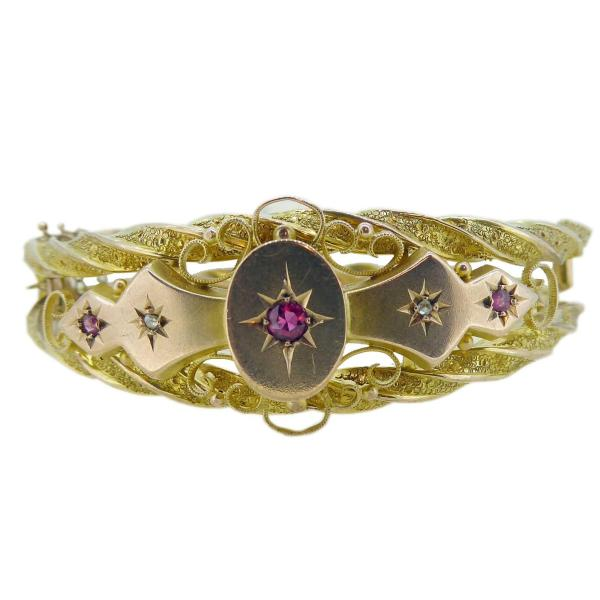Victorian Ruby and Diamond Bangle in 9 Carat Gold 4