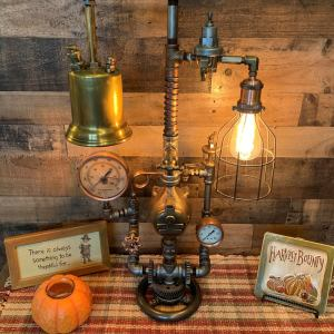 Vintage Machine Age Steampunk Lamp. 1