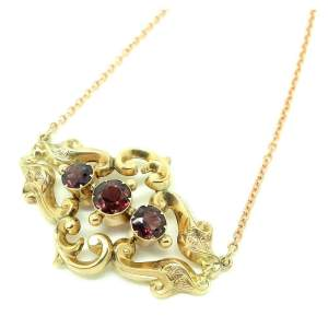 Antique Victorian 9ct Yellow Gold Garnet Necklace.