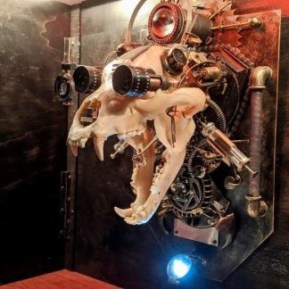 Cyborg Steampunk Bear Skull Wall Sculpture. Created and made to order by Anna Lunina of Alive Steel.