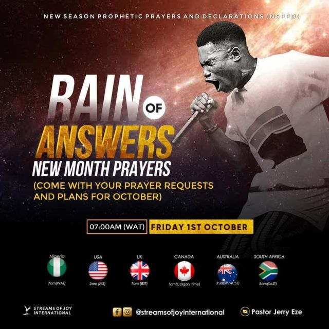 Rain Of Answers - New Month Prayers [NSPPD] - 1st October 2021