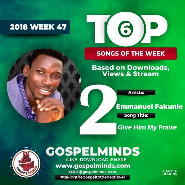 No. 2 = Emmanuel Fakunle – Give Him My Praise