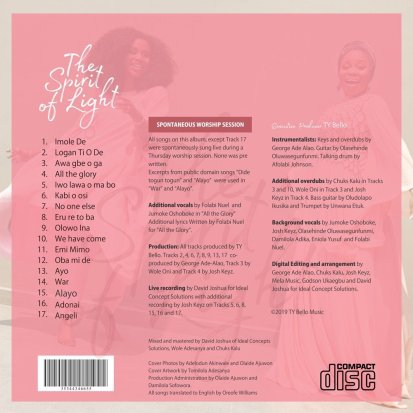 The Spirit of Light. Tracklists. Tope Alabi. TY Bello