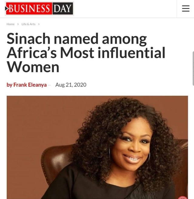 PRESS RELEASE: Sinach was mentioned among Africa's most influential women