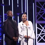 Donald Lawrence and Koryn Hawthorne present at the Dove Awards