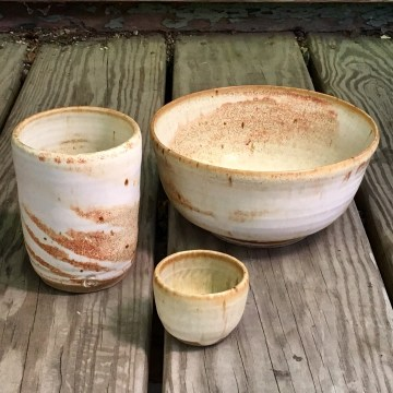 Cylinder tumbler (*n/a), large bowl and small tea cup (spodumene glaze over marbled clay)