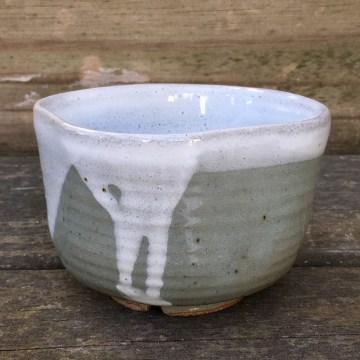 Squared tea bowl (Shaner white over celadon) *n/a