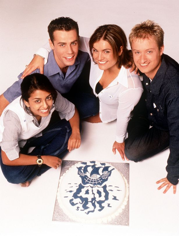 Blue Peter presenters prepare for to celebrate the show's 40th anniversary. L-R Konnie Huq, Richard Bacon, Katy Hill and Stuart Miles