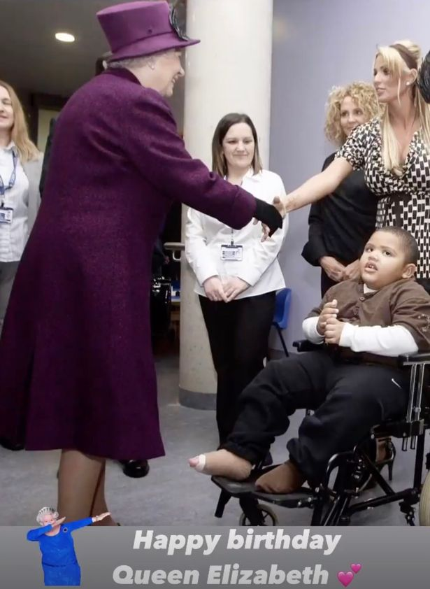 Katie Price shakes the hand of the Queen