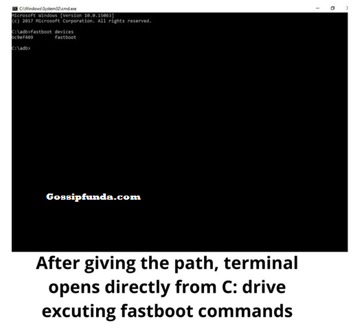 After giving the path terminal opens directly from c drive executing fastboot commands