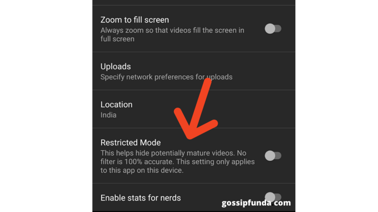 TURN OFF RESTRICTED MODE