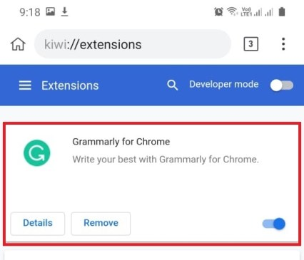 Finally, you will find the installed chrome extension on your android phone browser