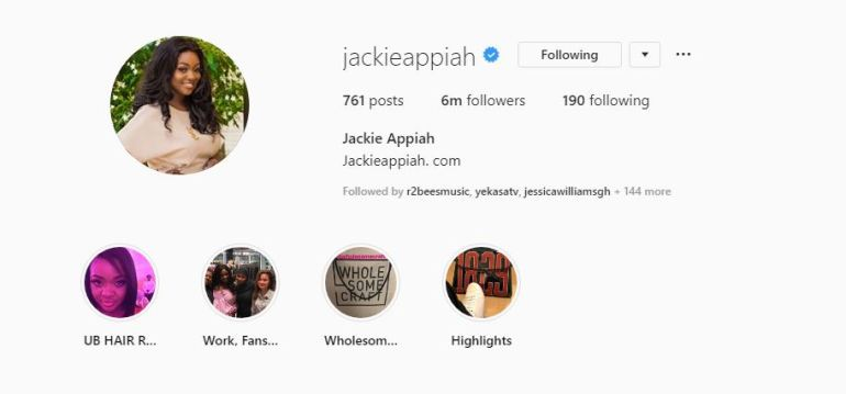 Jackie Appiah Becomes First Ghanaian Celeb To Hit 6 million Followers On Instagram 1