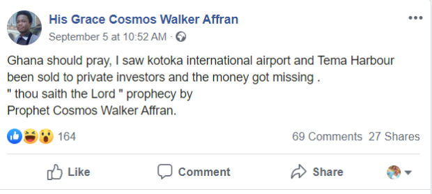 Kotoka Airport And Tema Harbour Will Be Sold, But The Money Will Get Missing - Prophet Cosmos Walker reveals