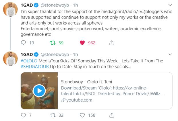 I Am Super Thankful Of Your Support - Stonebwoy tells Media