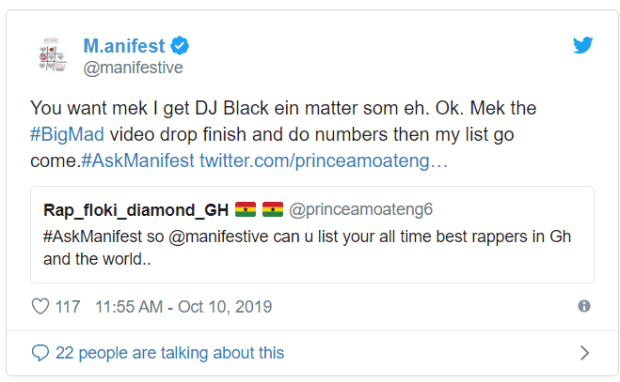 Manifest Lists His Best Rappers In Ghana