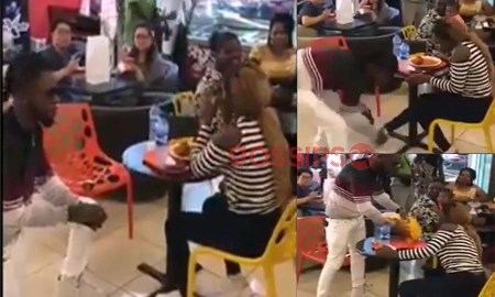 Man removes shoe and takes jollof he bought for lady after she said no to his proposal