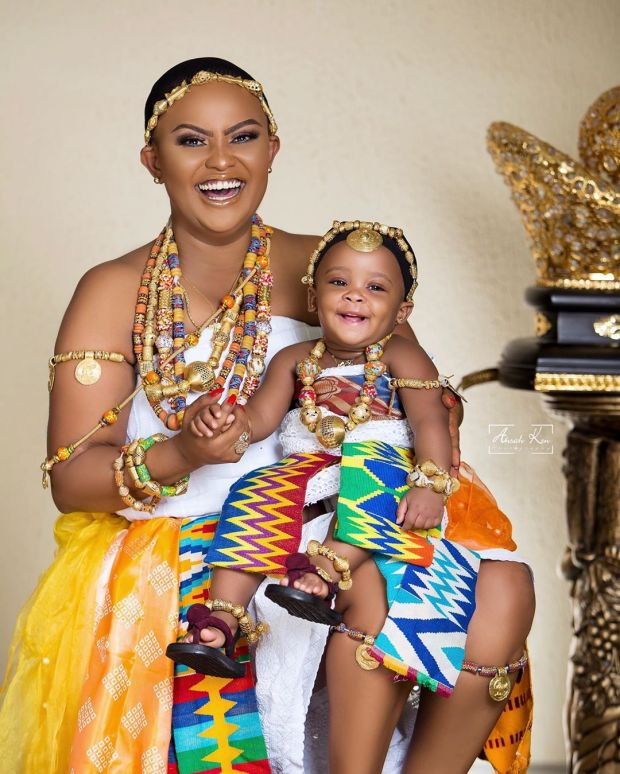 Nana Ama McBrown Baby Maxin face, Nana Ama McBrown shows Baby Maxin's face