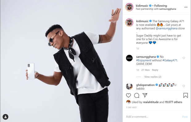 Kidi is Samsung Ghana's newest brand ambassador 2