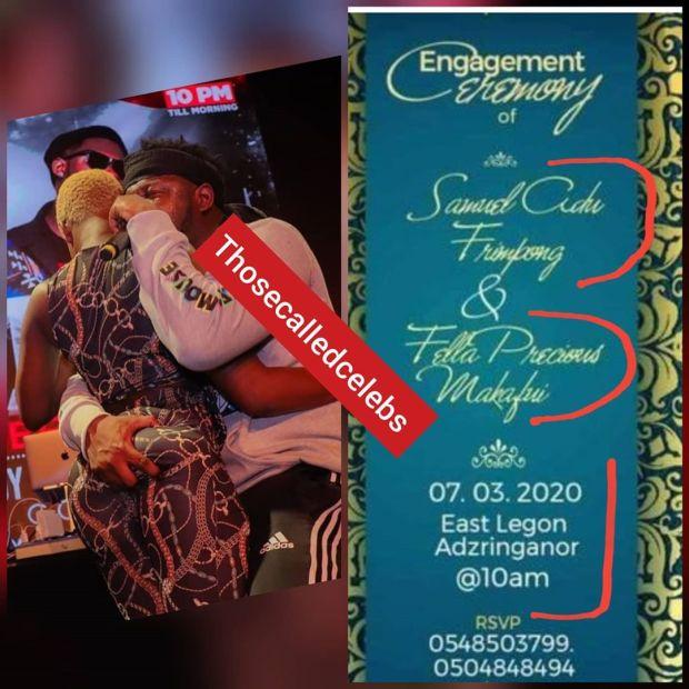 Medikal and Fella Makafui engagement card