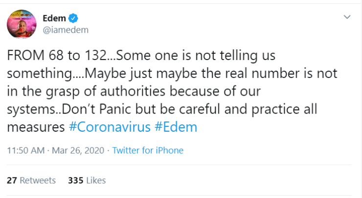 Rapper Edem reacts to cases of coronavirus in Ghana