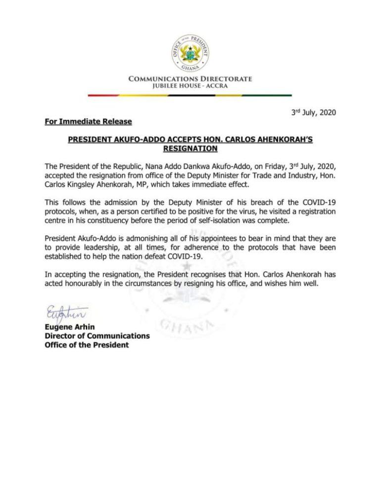 Carlos Ahenkorah resigns