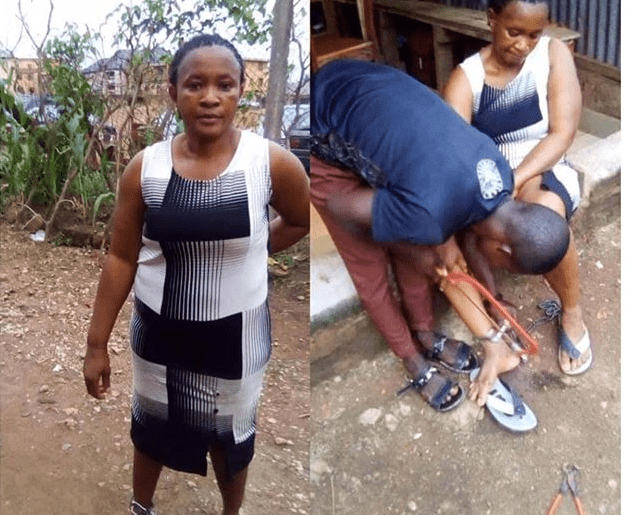 Wicked husband chains wife to pillar for 10 hours; runs away with key to padlock