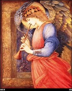 картина Э. Бёрн-Джонса «Ангел, играющий на флажолете» (1878).