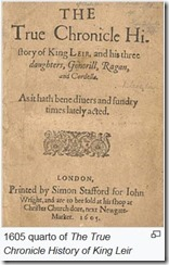 Titlepage, The True Chronicle History of King Leir, 1605