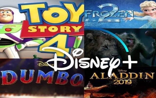 frozen 2. dumbo, lion king, aladdin, toy story 4, disney plus