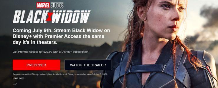 black widow, disney plus