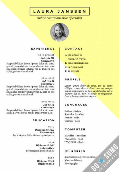 stockholm template resume