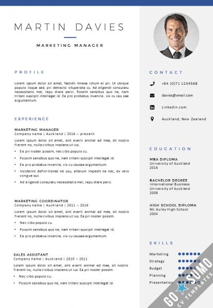 resume english font