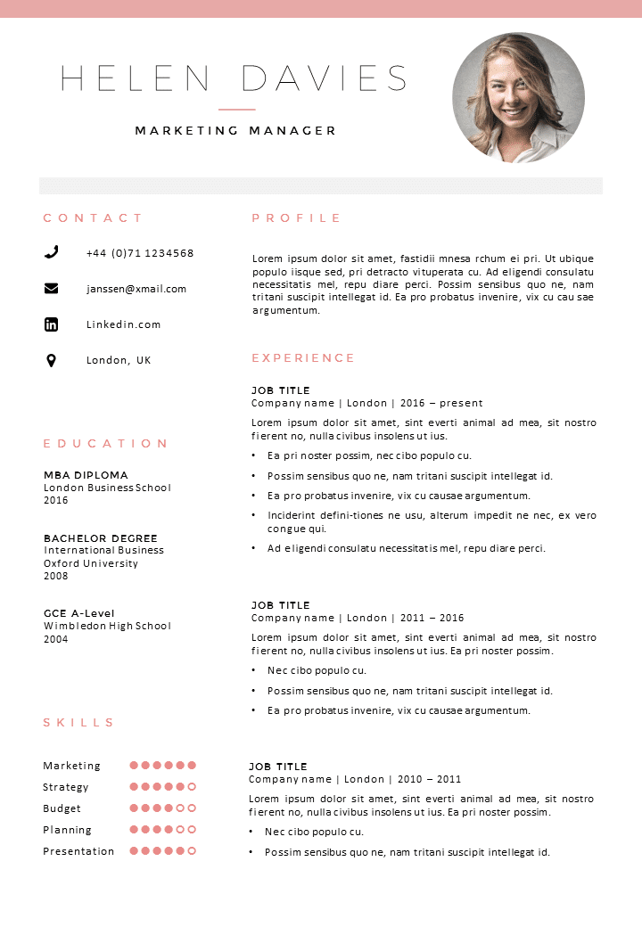CV Template London CV Cover Letter Template In Word