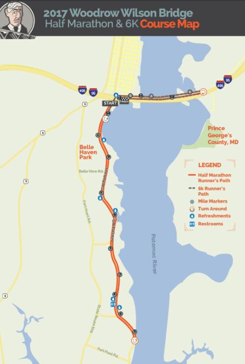 2017 Wilson Bridge Half Course Map