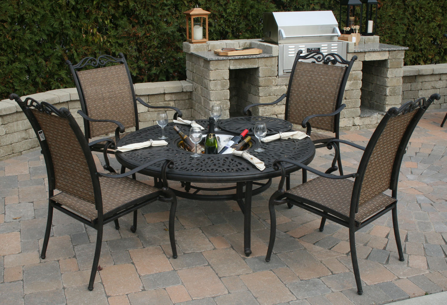 patio set in front of barbecue grill assembled by Got a Hand