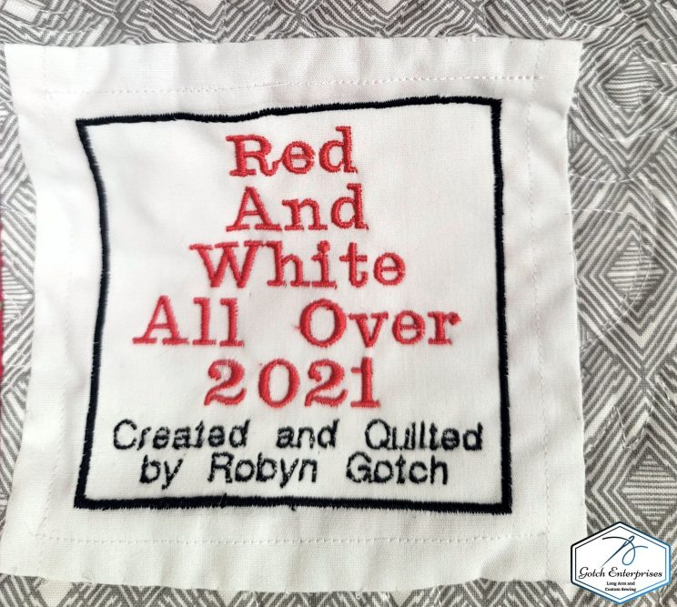 red and white all over label