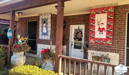 Snowman Banner on Porch