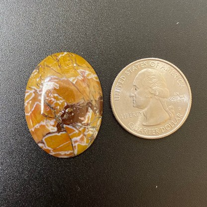 Brown and yellow jasper agate cabochon