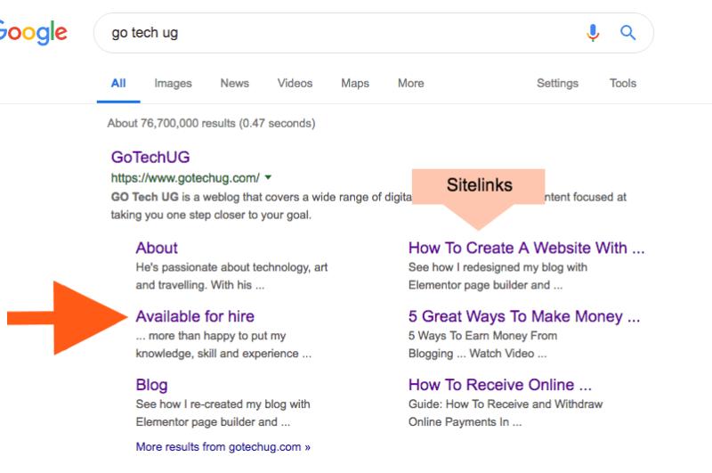 Go Tech UG Sitelinks