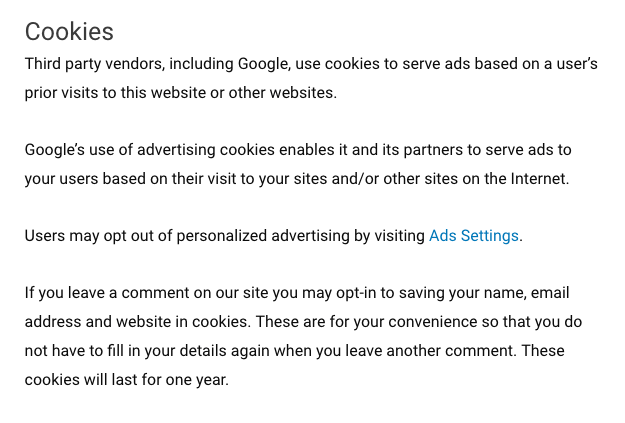 Cookie section on my client site