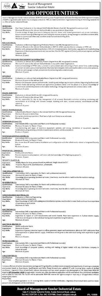 Board of Management Sundar Industrial Estate Jobs 2021