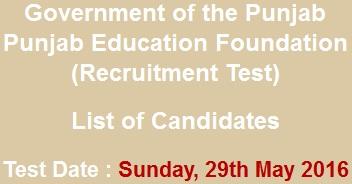 PEF Jobs NTS Test 2021 Result