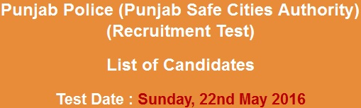 Punjab Police Safe Cities Authority PSCA Jobs NTS Test