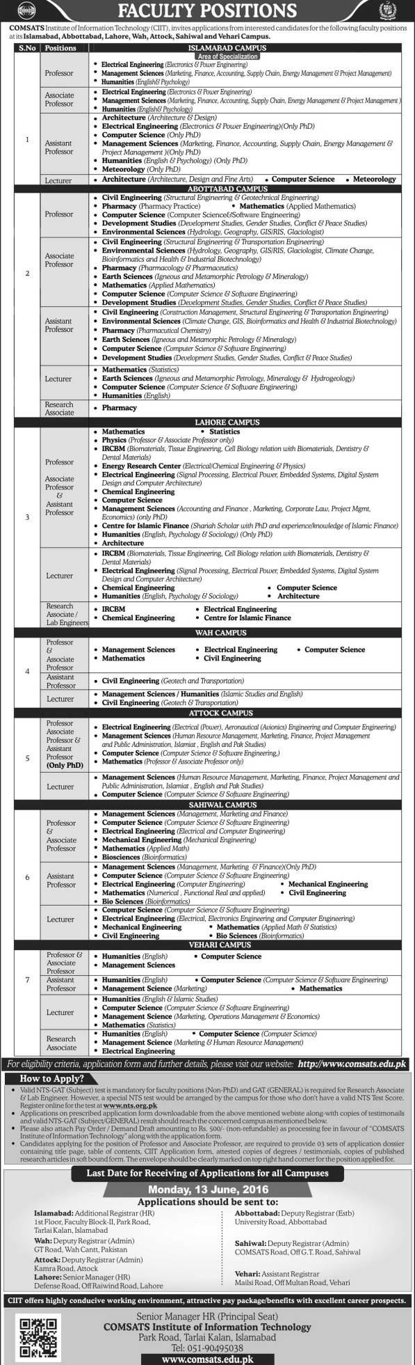 COMSATS Teaching Staff Faculty Jobs NTS Test 2016