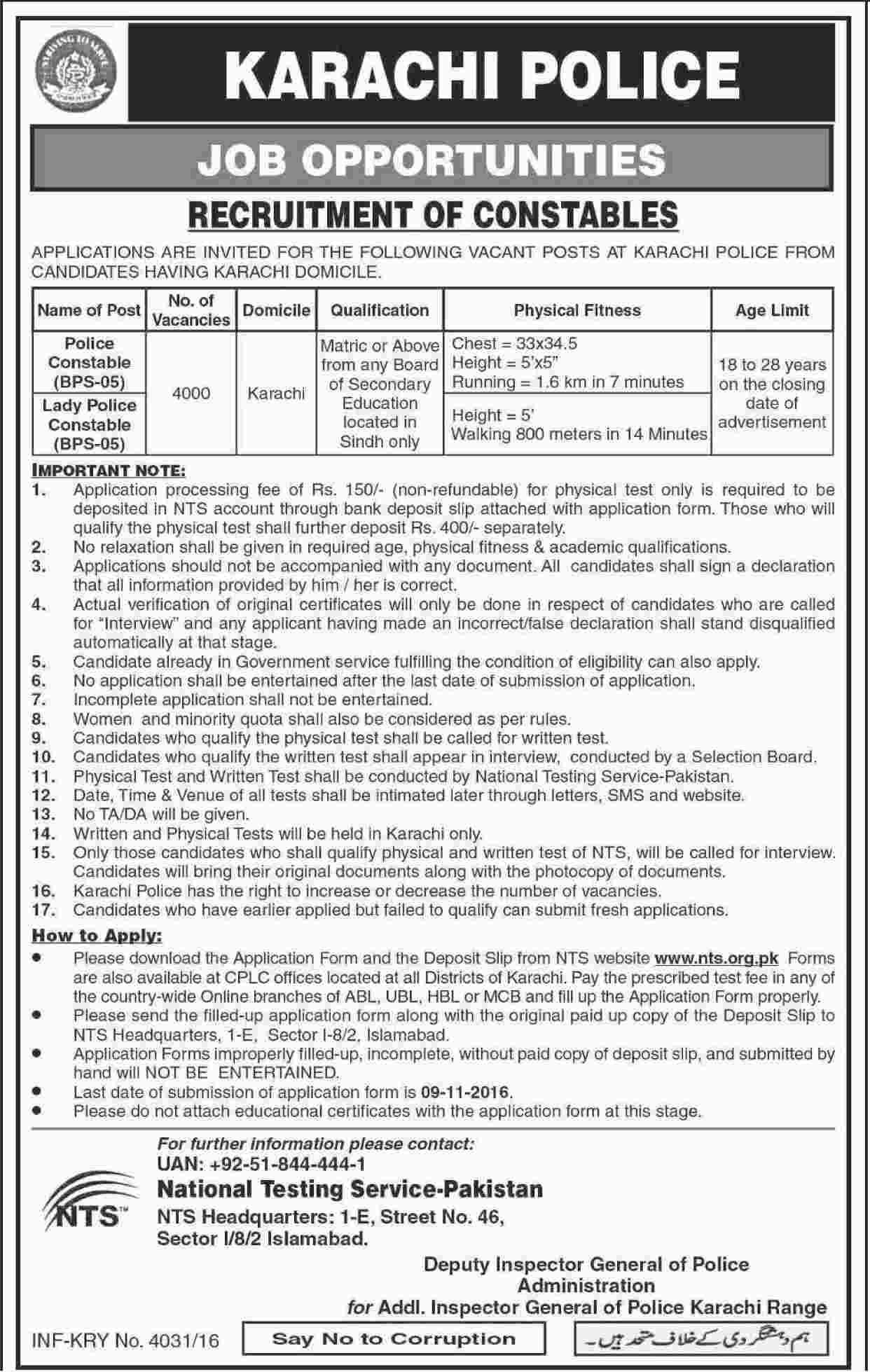 Karachi Nts Police Constable Jobs 2019 Eligibility