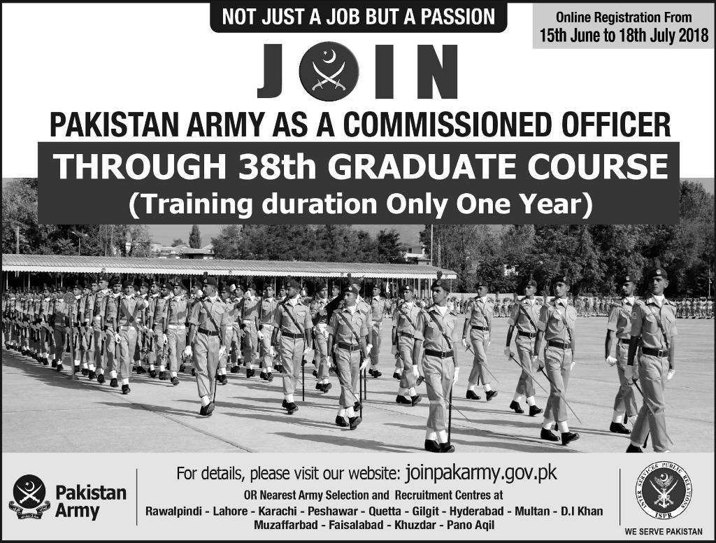 Join Pak Army As Commissioned Officer Through 38th